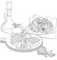 line art meat and salad vector image