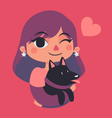 Cute Girl Winking and Holding a Dog vector image