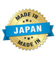 made in Japan gold badge with blue ribbon vector image