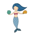 Beautiful little mermaid with shells vector image