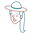 beautiful woman head with hat avatar character vector image