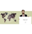Businessman with a board and map of the world vector image
