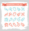 engineering line icons set vector image