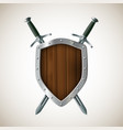 icon two sword and shield heraldic sign coat of vector image