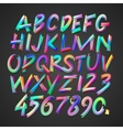 Multicolored art alphabet and numbers vector image