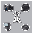photography equipment stickers vector image