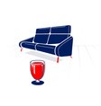 Soft sofa and glass vector image