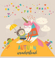 cute girl hugging unicorn autumn wonderland vector image
