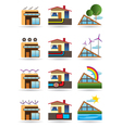 Green building with green energy sources vector image