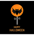 Sweet candy lollipop with bat Black bow vector image