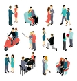 Loving Couples Isometric Set vector image