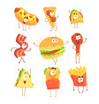 funny fast food set for label design cartoon vector image