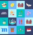 singapore culture flat icon set vector image