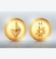cryptocurrency gold coin set vector image