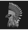 Zentangle stylized head of eagle in feathered war vector image