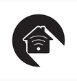 black icon - house with signal vector image