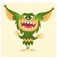 Happy cartoon gremlin monster vector image