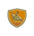 Knight Riding Steed Lance Shield Retro vector image vector image