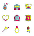 little princess icons set flat style vector image