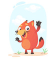 Cute funny fox mascot amusing and excited vector image