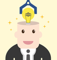 Businessman get light bulb in head with idea vector image