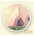 Flat colorful nature mountain clockIcons vector image