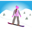 girl in pink on a snowboard vector image