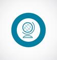 globe icon bold blue circle border vector image