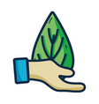 hand with leaf to environment care sign vector image