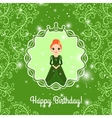 Happy Birthday green card with princess vector image