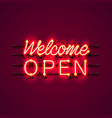 neon welcome open signboard vector image