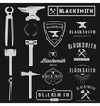 Set of logo for blacksmith typographic logotype vector image