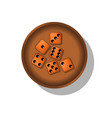 playing dice in a cup vector image
