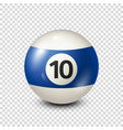 billiardblue pool ball with number 10snooker vector image