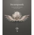 silver metallic banner steampunk vector image