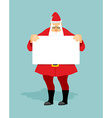 Santa with blank sheet of white hands Christmas vector image