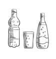 Bottles and glass of sweet soda drink vector image vector image