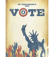 Be responsible and Vote On USA map Vintage vector image