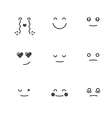 Emoticons Collection Set of Emoji Monochrome thin vector image