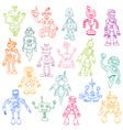 Robots Hand Drawn Doodle Set vector image vector image