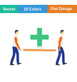 Icon of medical staff carrying stretcher vector image