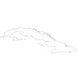 Black White Cuba Outline Map vector image vector image