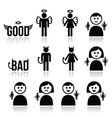 Angel devil man and woman icon set vector image