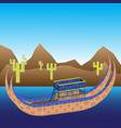 boat of titicaca lake mountains and cacti vector image