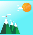 Flag on mountain success and goal business concept vector image