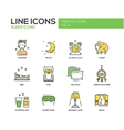 Sleeping - line design icons set vector image