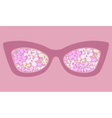 Sunglasses with flowers in reflection vector image