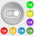 start icon sign Symbol on eight flat buttons vector image