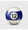 billiardblue pool ball with number 12snooker vector image