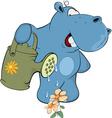 little hippo-gardener Cartoon vector image